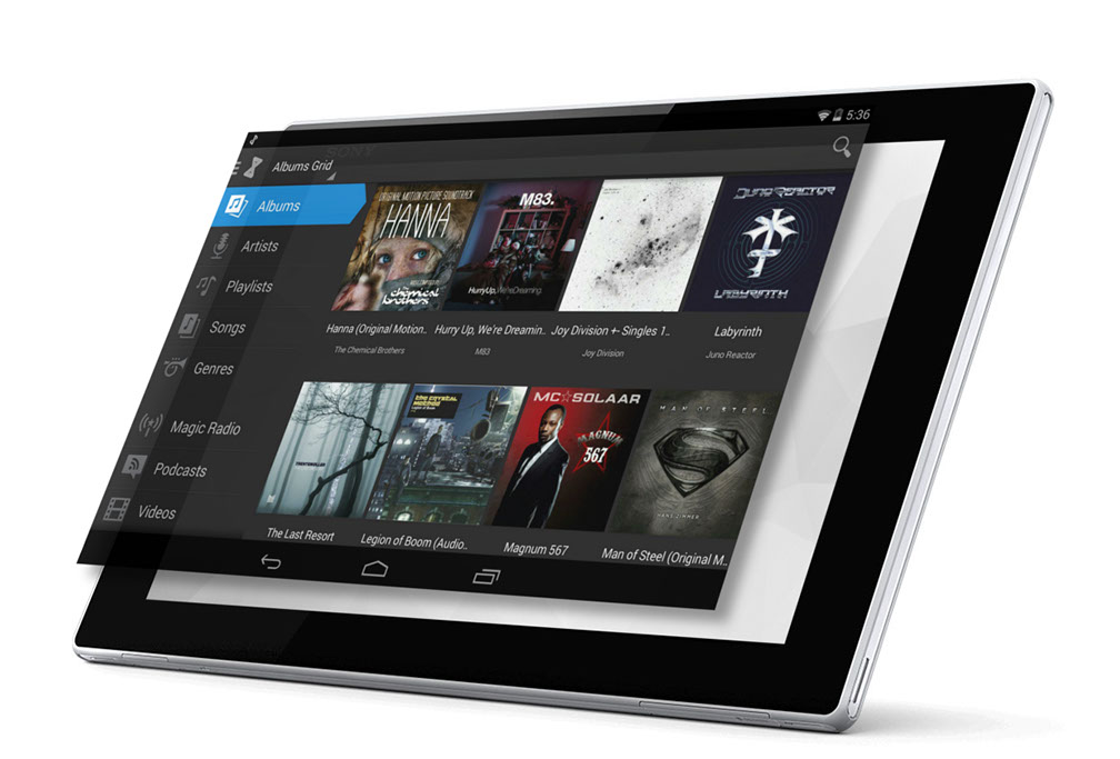 Connect your tablet using the bluetooth radio console.